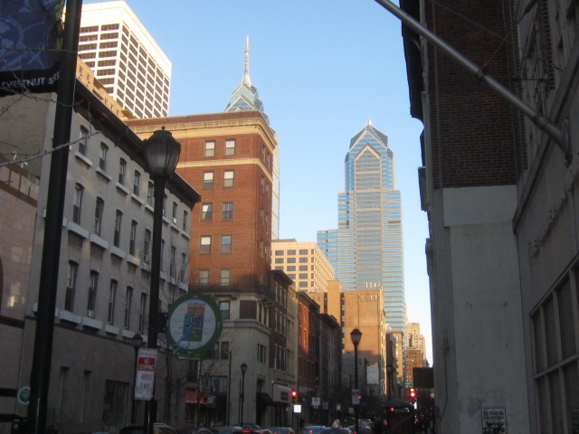 Looking east down Chestnut Street, towards Two Liberty Place