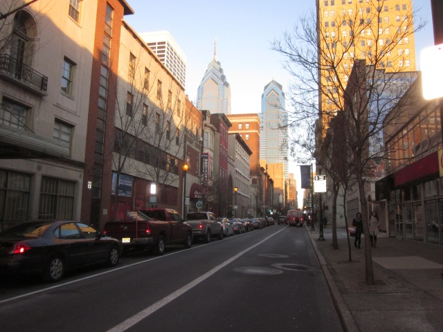 Looking east on Chestnut Street, from 2021 Chestnut Street, towards Liberty Place