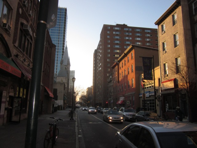 Looking west on Chestnut Street, towards 2116 Chestnut Street and Riverwest Condos