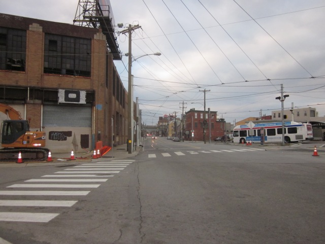 Looking up Frankford Avenue, from Delaware Avenue, with Ajax building on left