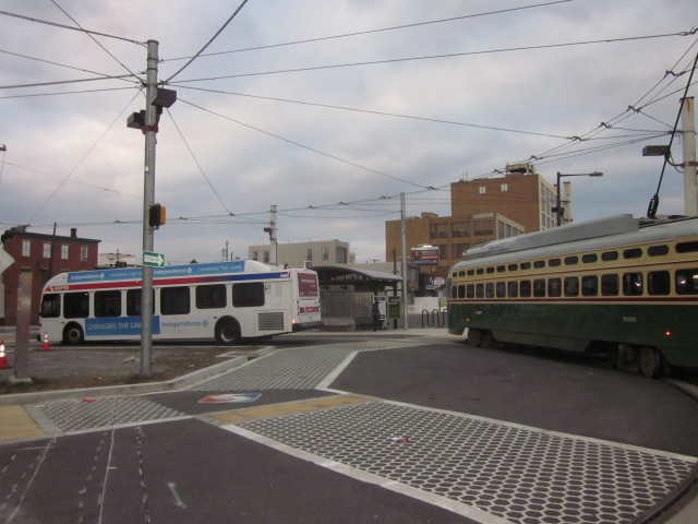 Bus and trolley loop on Frankford Avenue, across from Ajax warehouse