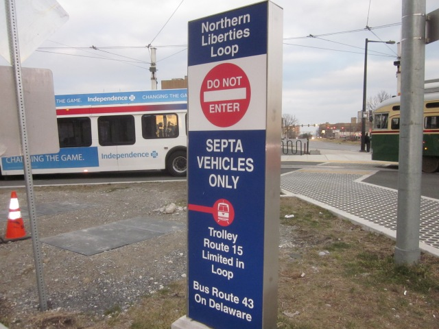 Sign at bus and trolley loop
