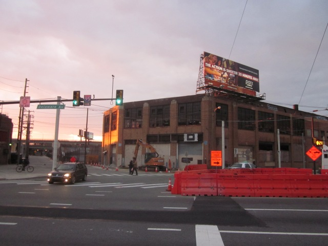 Front of Ajax warehouse, at intersection of Frankford Avenue, Laurel Street, and Canal Street, as seen from the middle of Delaware Avenue
