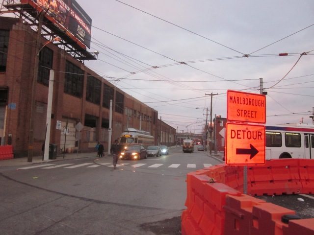 Route 15 trolleys, passing Ajax warehouse in both directions on Frankford Avenue, will provide transportation to and from Canal North
