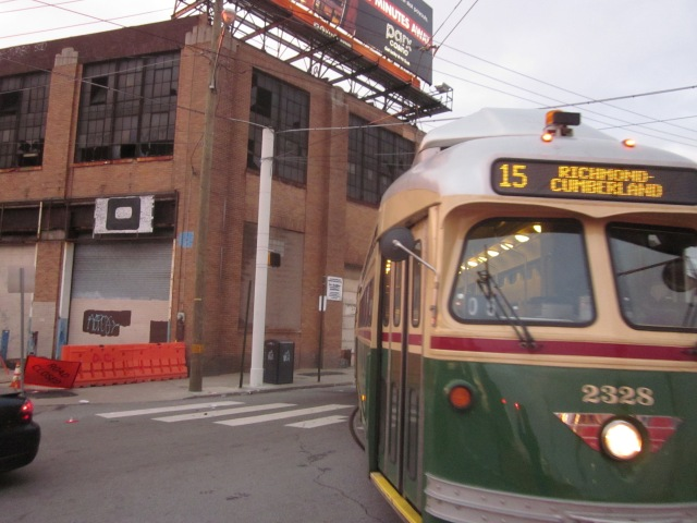 Route 15 trolley in front of Ajax warehouse