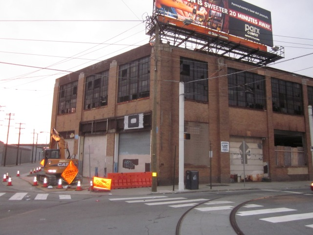 Front of the Ajax warehouse, at the intersection of Frankford Avenue, Laurel Street, and Canal Street