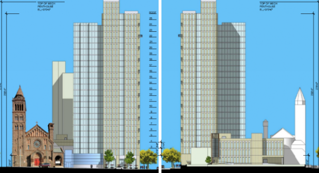 Elevation drawings of the new apartment tower