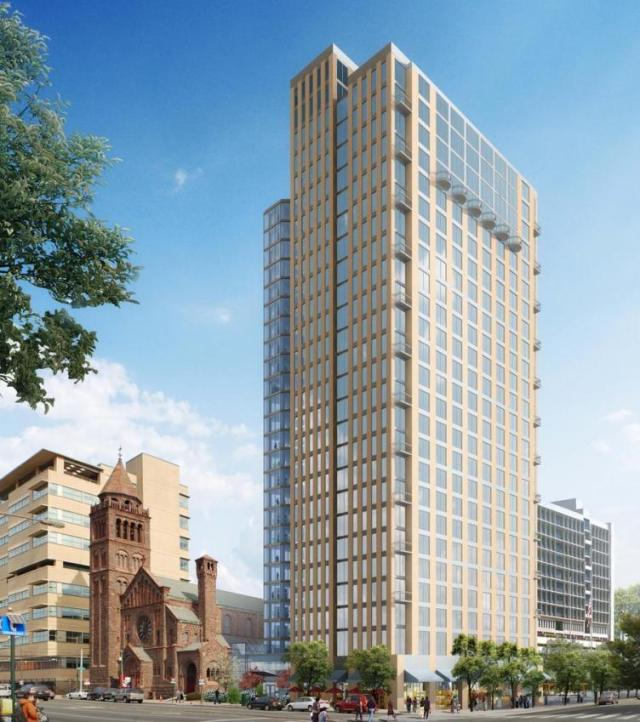 Rendering of the new apartment tower at 38th & Chestnut Streets