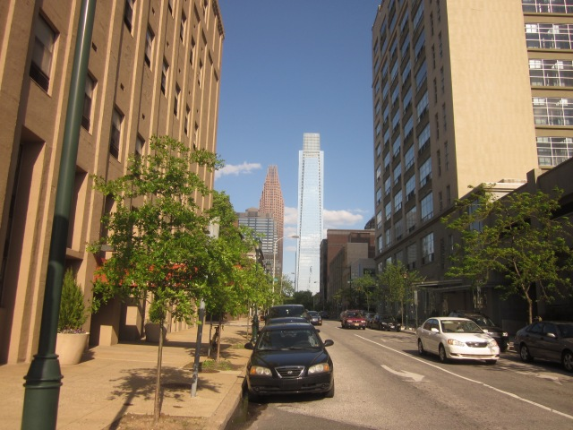 Looking east on Arch Street, from 23rd Street, shows Comcast Center and Three Logan Place, and soon, 1900 Arch