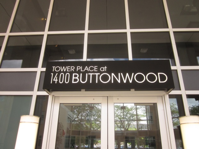Entrance to Tower Place, shows official address is 1400 Buttonwood Street