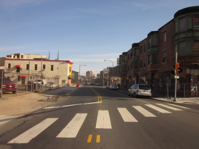 Looking south on Ridge Avenue, towards Callowhill and Chinatown