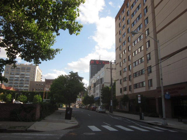 Looking south down 23rd Street, from Race Street, shows PECO Building and 2200 Arch Lofts