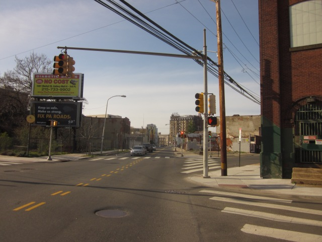 Looking north on Ridge Avenue, towards Francisville and the Divine Lorraine Hotel