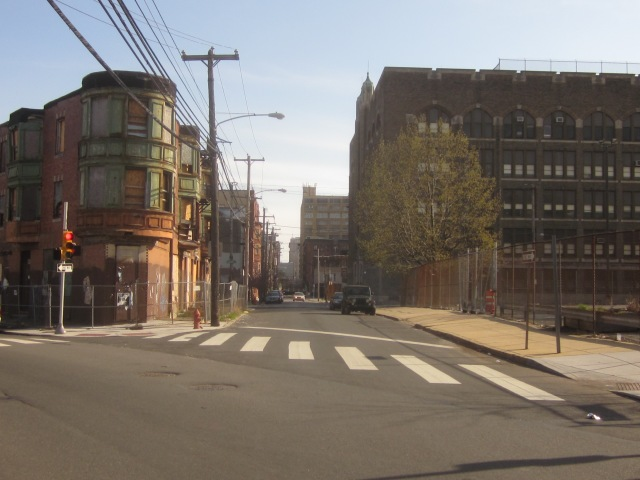Looking south down 13th Street, towards the Callowhill neighborhood