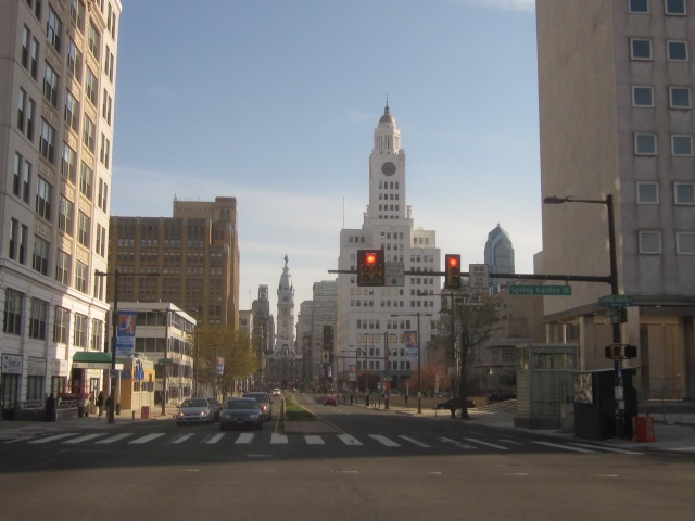 Looking south on Broad Street, from Spring Garden Street, shows 511 N. Broad condominiums and 401 N. Broad further south