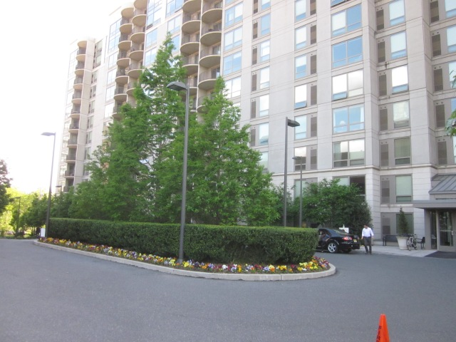 Looking back at Edgewater highrise, from inside driveway