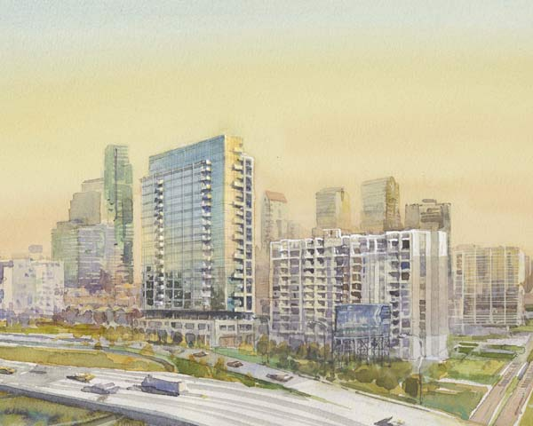 Rendering of Edgewater II, from the north, as it will appear from the Vine Street Expressway