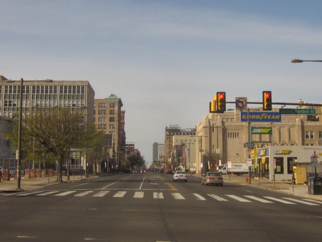 Looking north up Broad Street, from Spring Garden Street