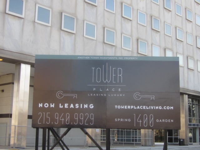 Sign announcing Tower Place