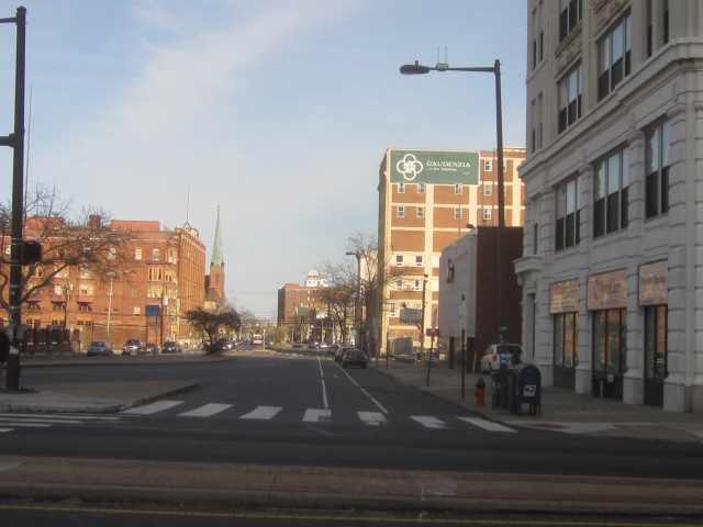 Looking east on Spring Garden Street, from Broad Street