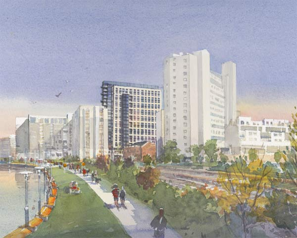 Rendering of Edgewater II, from the south and Schuylkill Banks