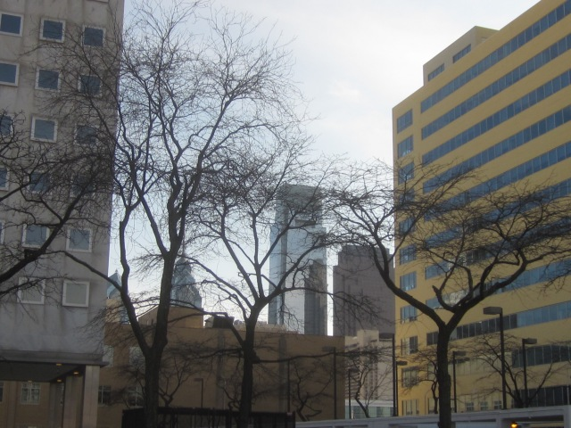Center City skyscrapers are visible behind the site of the future tower of the second phase