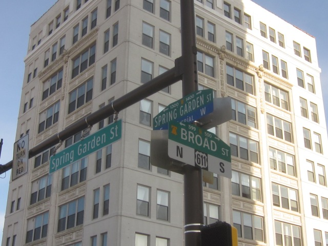 Street signs at Broad & Spring Garden Streets