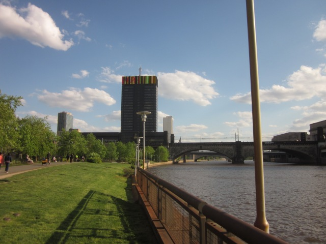 Looking south down the Schuylkill and Schuylkill Banks, from in front of Edgewater