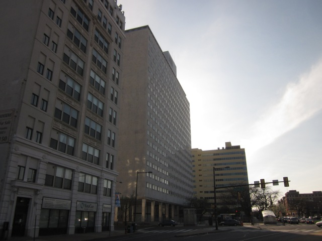 511 N. Broad Street, Tower Place, and 1500 Spring Garden Street, looking west