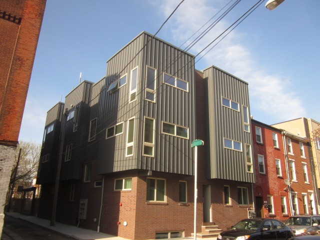 Camac Street and a new apartment building next door, also designed by Harman Deutsch