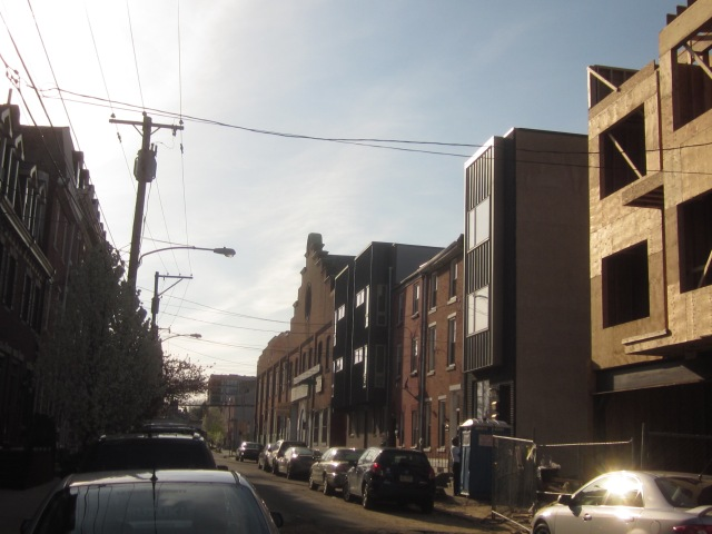 Looking west on Mt. Vernon Street, towards 1221 Mt. Vernon Street, shows much new development on the 1200 block of Mt. Vernon
