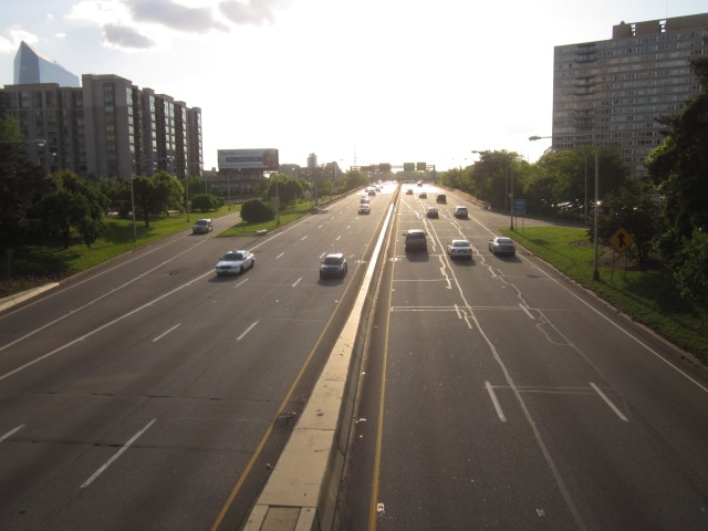 Vine Street Expressway, seen from the 22nd Street overpass, facing west