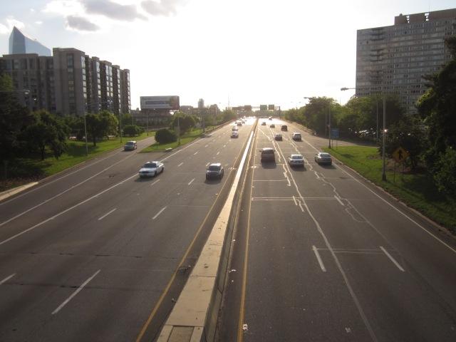 Vine Street Expressway, seen from the 22nd Street overpass, facing west