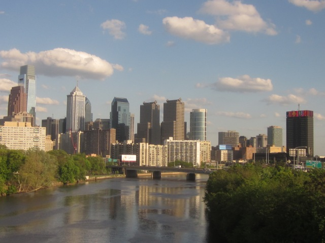 Edgewater as seen amidst the skyline, along the Schuylkill River, from the Spring Garden Street Bridge