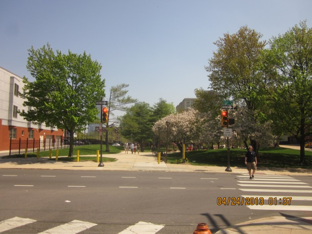 Looking across 34th Street, towards Drexel's Lancaster Walk