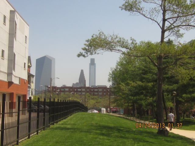 Caneris Hall and Center City skyline, seen from 34th Street