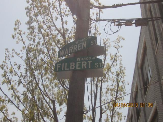 Signs showing the intersection of Filbert and Warren Streets, at 34th Street