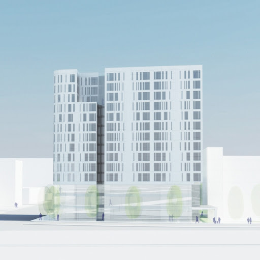 Rendering of the possible new residential tower next to the Stevens School