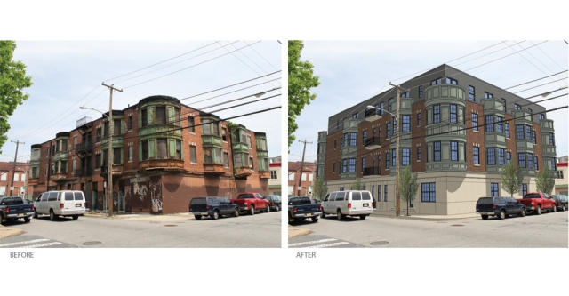 Before and after rendering of what the triangular apartment building will look like after renovation