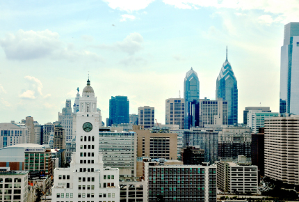 View of Center City skyline from inside a Tower Place apartment