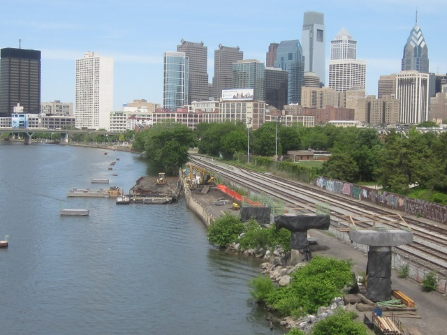 Schuylkill River and Schuylkill Banks trail and boardwalk under construction