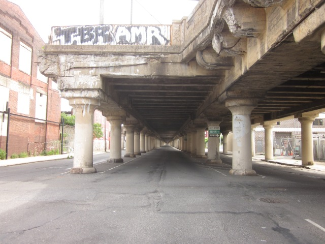 Looking down 25th Street, underneath the CSX train trestle