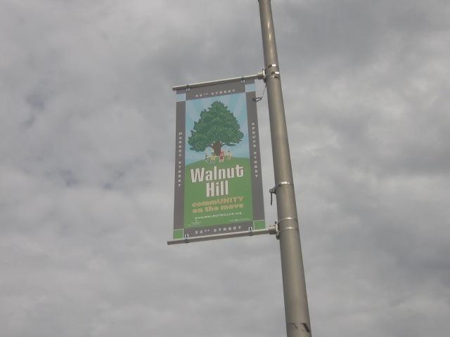 Banner announcing Walnut Hill neighborhood