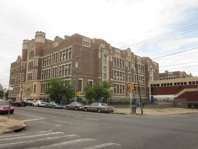 The old West Philadelphia High School building is cater-corner to The Croydon