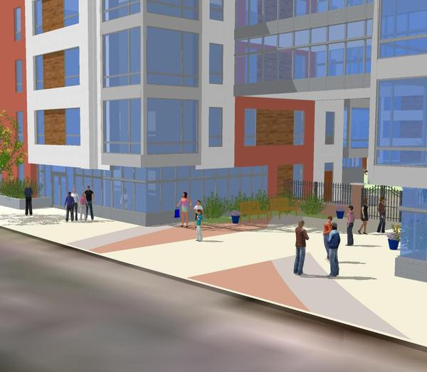 Rendering of entrance from Second Street, from a different angle, shows patterns in the brick that mimic rail line spurs on the American Street side