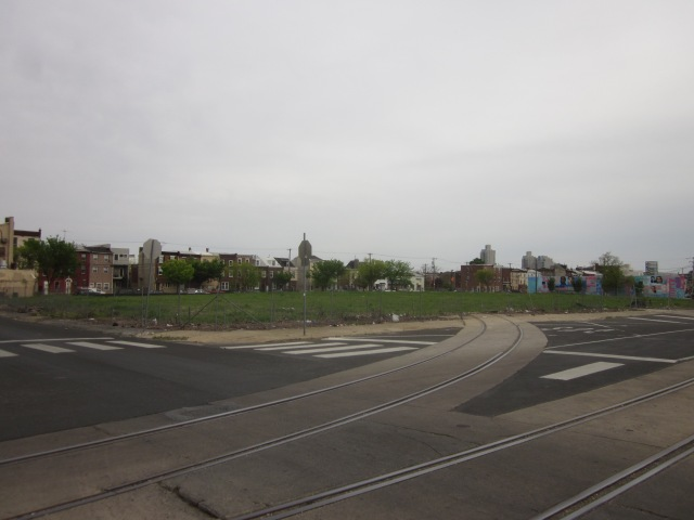 Looking at Soko Lofts site from American and Master Streets, shows rail line spurs approaching the site from American Street