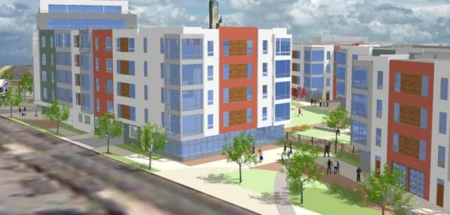Rendering of Soko Lofts, from American and Thompson Streets