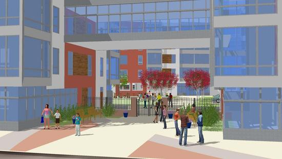 Rendering of entrance from Second Street