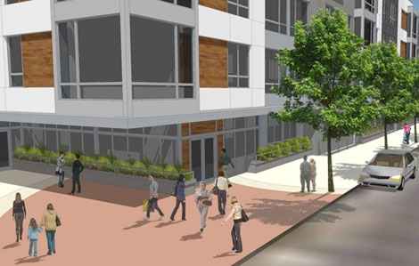 Rendering of corner @ Second and Thompson Streets