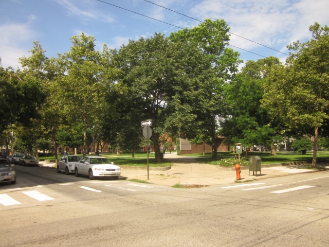 Southwest corner of the park, at Fourth and Morris Streets